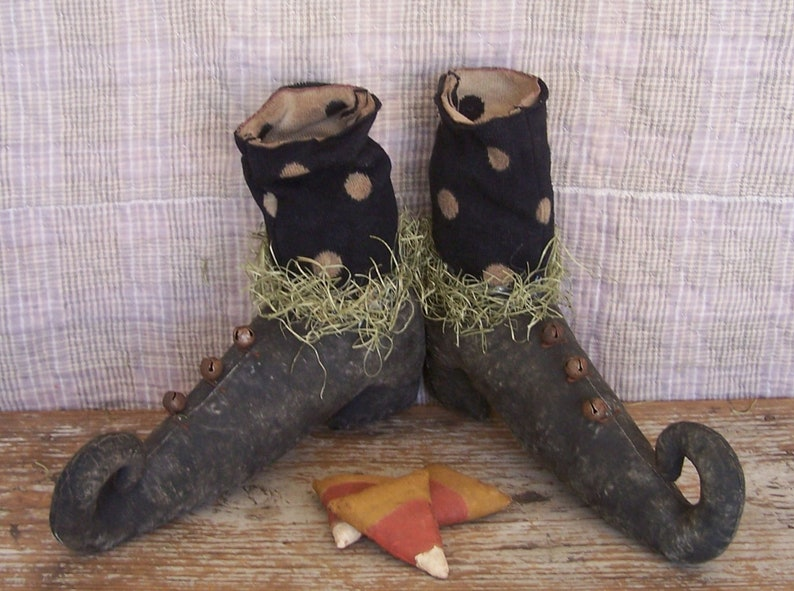 Primitive Witch Shoes with Polkadot Stockings Rustic image 0