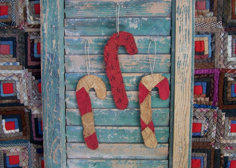3 Primitive Candy Cane Ornaments made from Antique Quilt Eco image 0