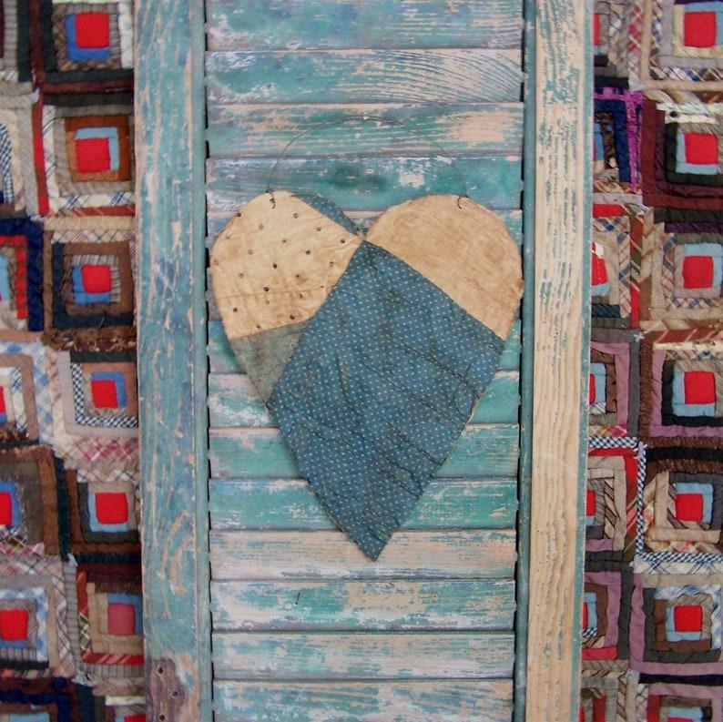 Large Tattered Heart Hanger Antique Quilt Farmhouse Decor image 0