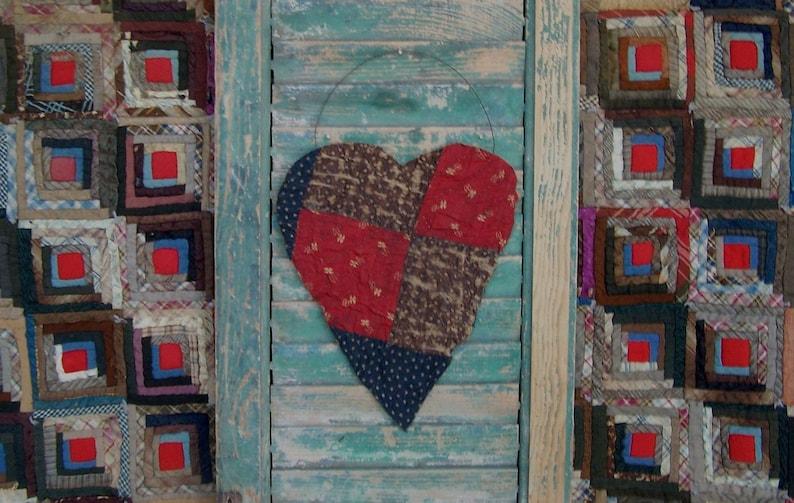 Large Tattered Heart Hanger Navy Blue & Dark Red Antique image 0