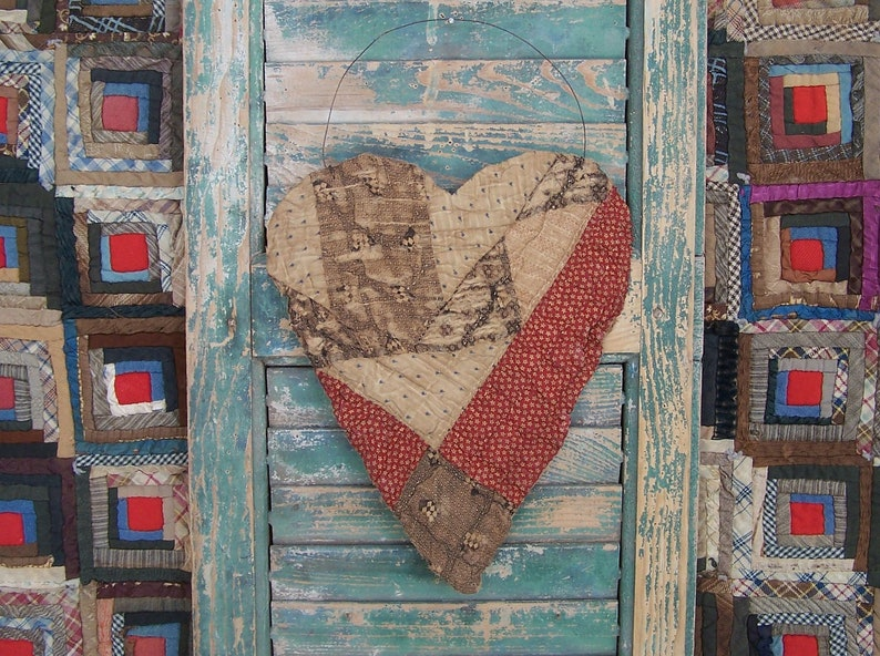 LARGE Tattered Heart Hanger made from Civil War Era Antique image 0