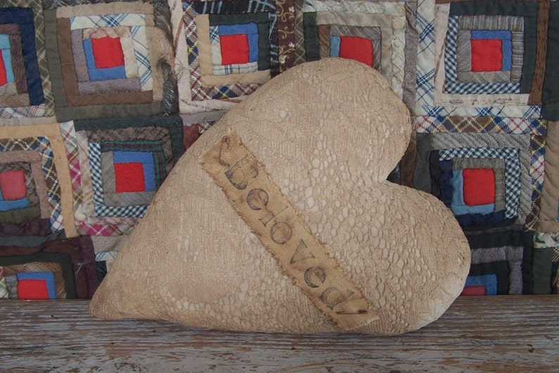 Rustic Heart Pillow made from Vintage Lace Curtain BELOVED image 0