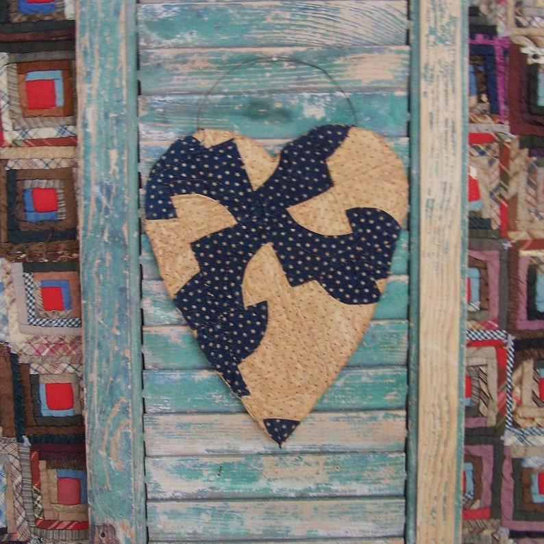Rustic Valentine Heart Hanger Primitive Heart Antique Quilt image 0
