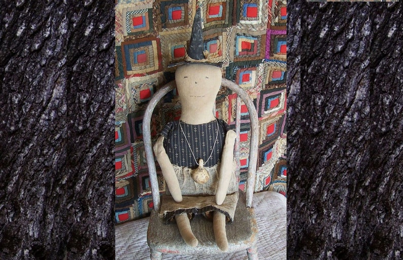 Rustic Halloween Witch Doll in Black Dress OOAK Grungy image 0
