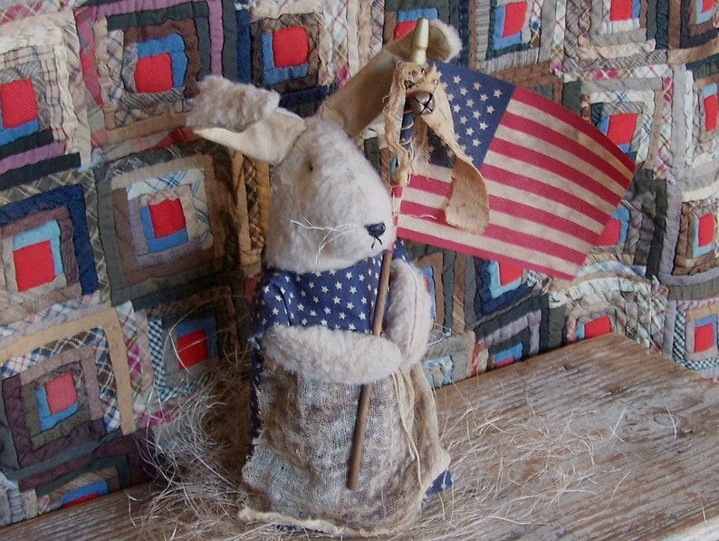 Rustic Rabbit with Flag Americana Bunny Doll Primitive image 0