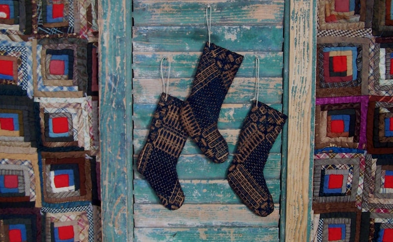 3 Primitive Christmas Stocking Ornaments made from Antique image 0