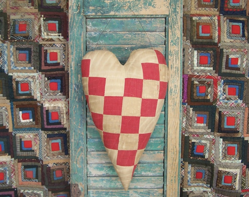 Primitive Heart Door Hanger made from Antique Quilt Red & image 0