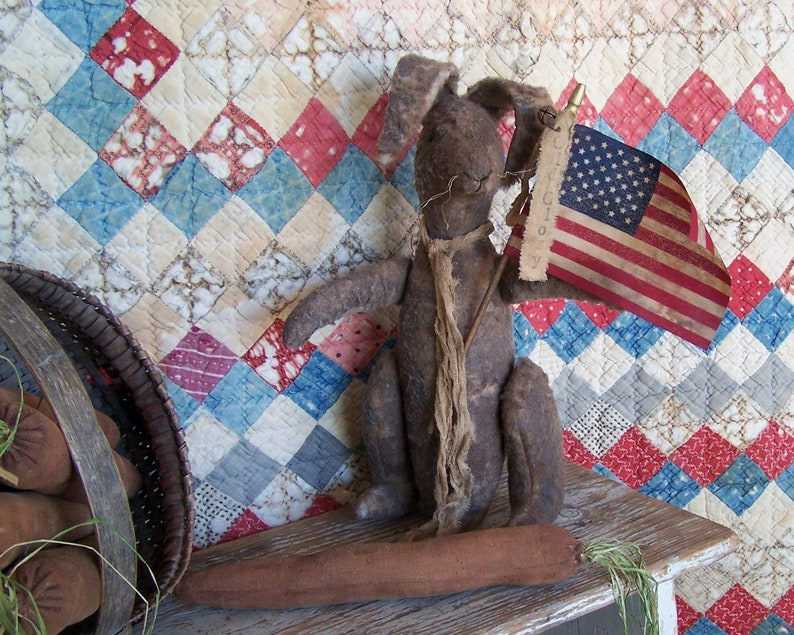 Grungy Rabbit Doll Primitive Rustic 4th of July Farmhouse image 0