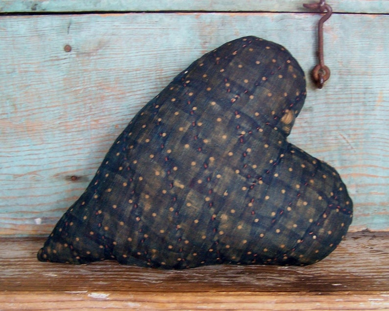 Polkadot Heart Pillow made from Antique Quilt Eco Friendly image 0