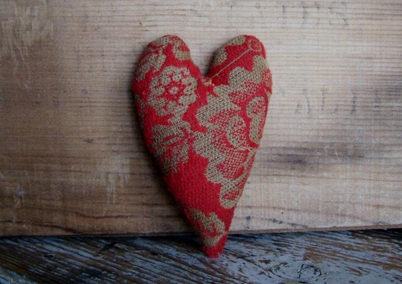 Rustic Red Heart Bowl Filler Primitive Christmas Ornament image 0