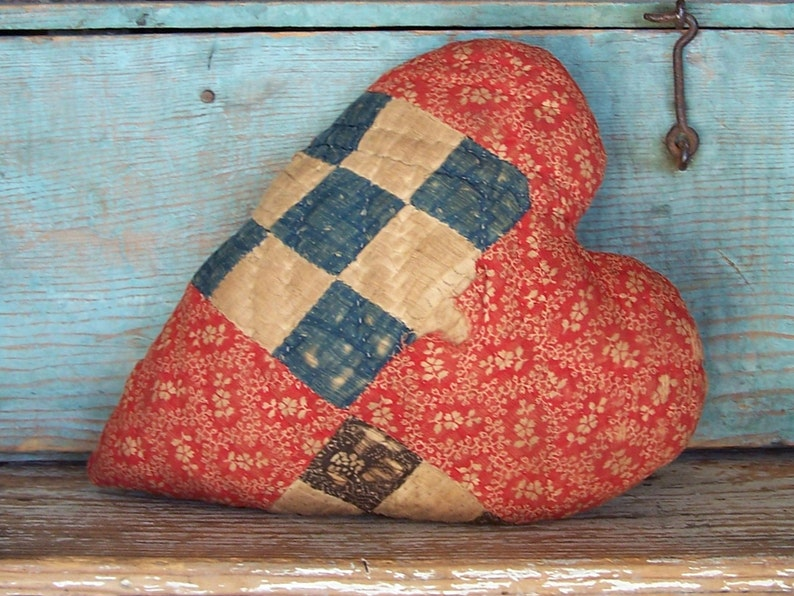 Rustic Heart Pillow Red Floral Country Farmhouse Grungy image 0