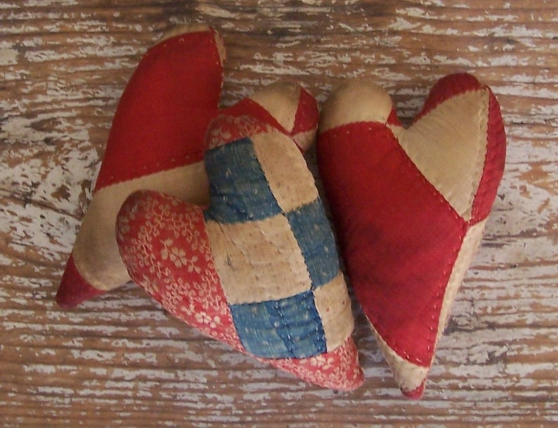 3 Rustic Hearts made from Antique Quilt Primitive Americana image 0
