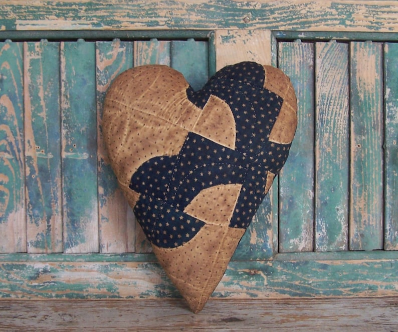 Rustic Heart Pillow made from Antique Quilt Navy Blue & White image 0
