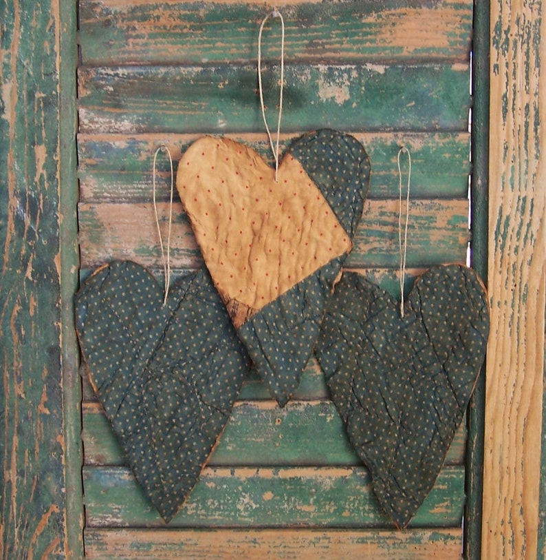 3 Tattered Heart Ornaments Rustic Antique Quilt Primitive image 0