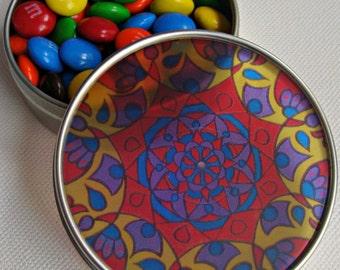 Primary Mandala Travel Tin - Bohemian Stash Box With Transparent Geometric Suncatcher Lid in Blue Red Yellow - Pillbox - Party Favor