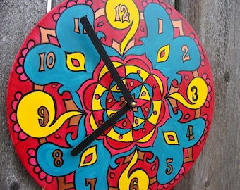 Mexico Mandala Record Clock - Psychedelic Bohemian Home Decor - Geometric Design in Red, Yellow, Turquoise on Recycled Vinyl Record