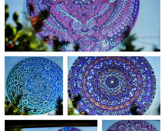 GROOVY Mandala Window Decal - Psychedelic Geometric Art - Choose Your Design from Groovy Collection