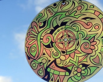 Yellow Amoeba Mandala Suncatcher - Psychedelic Geometric Design Made From Recycled CD Spacer