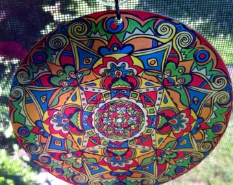 Rivets Mandala Suncatcher - Psychedelic Geometric Design Made From Recycled Materials - Bohemian Home Decor
