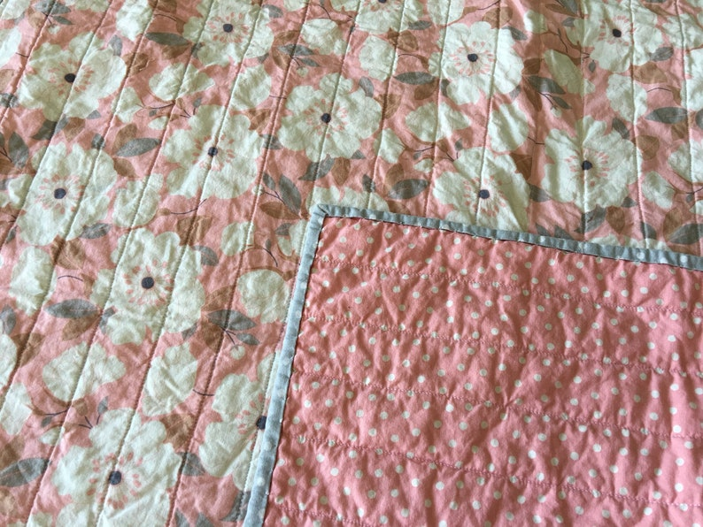 Quilt for Baby Pink Grey and White Whole Cloth