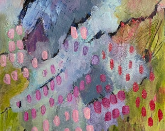 My Heart Remembers 11 by 14 Intuitive Abstract Landscape Painting