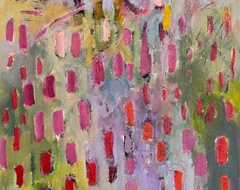 Glitter on Galaxial Winds 11 by 14 Intuitive Abstract Landscape Painting