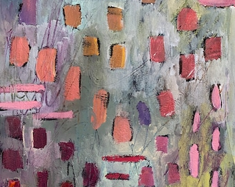 Come Walk With Me 11 by 14 Intuitive Abstract Landscape Painting