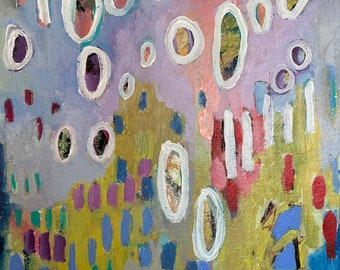Play Fair 11 by 14 Intuitive Abstract Landscape Painting