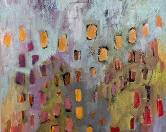 Color Dance 11 by 14 Intuitive Abstract Landscape Painting
