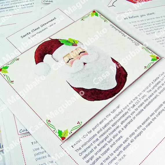 DIY PDF Pattern Christmas Decoration Hand Sewing Pattern Santa Claus Ornament Felt Pattern Christmas Ornament Instant Download