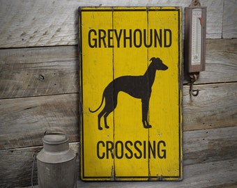 Greyhound Wood Welcome Outdoor Sign Blue//White