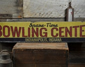 Bowling Center Wood Sign, Custom Spare-Time Location City State Sign, Man Cave Bowl Decor - Rustic Hand Made Vintage Wooden Sign