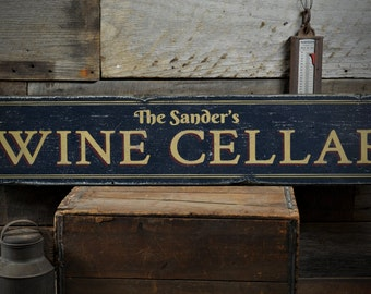 Family Wine Cellar Wood Sign Personalized Wine Lover Gift Name Sign Wine Room Bar Decor - Rustic Hand Made Vintage Wooden Sign ENS1001439 & Wine cellar sign | Etsy