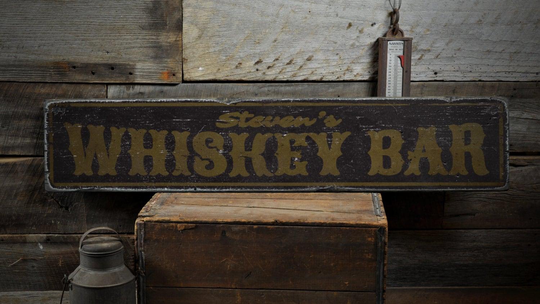 Whiskey-Bar-Holz-Schild personalisierte Barkeeper Bar