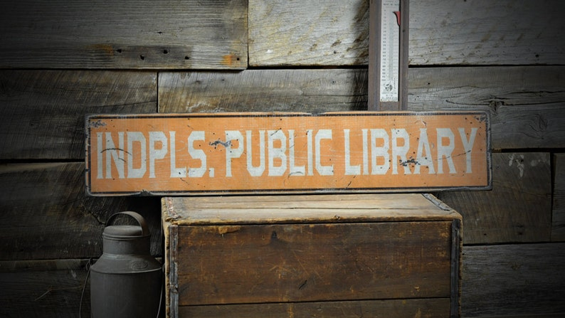 Custom Public Library Sign  Distressed Rustic Hand Made image 0
