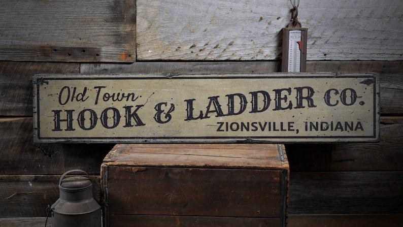 Hook Ladder Sign Hook and Ladder Sign Custom Firehouse Sign image 0