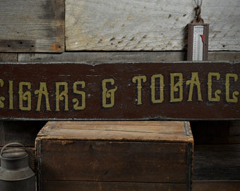 Cigars & Tobacco Wood Sign, Personalized Cigar Lover Gift, Custom Smoker Man Cave Decor - Rustic Hand Made Vintage Wooden Sign ENS1001588
