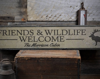 Family Cabin Sign, Cabin Custom Wood Sign, Wildlife Sign, Welcome Cabin Sign, Rustic Cabin Decor, HandMade Vintage Wood Sign ENS1001922