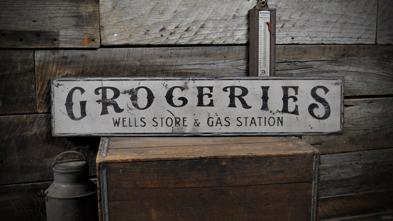 Custom Store & Gas Station Sign, Gas Station Signs - Rustic Hand Made  Vintage Wooden Decorations