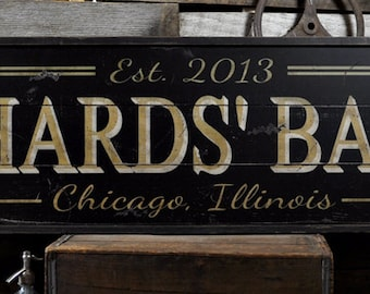 Bar Sign, Custom Bar Sign, Personalized Bar Sign, Bar Sign for Home, Wooden Bar Sign, Home Bar Decor - Rustic Wooden Custom Sign ENS1000475