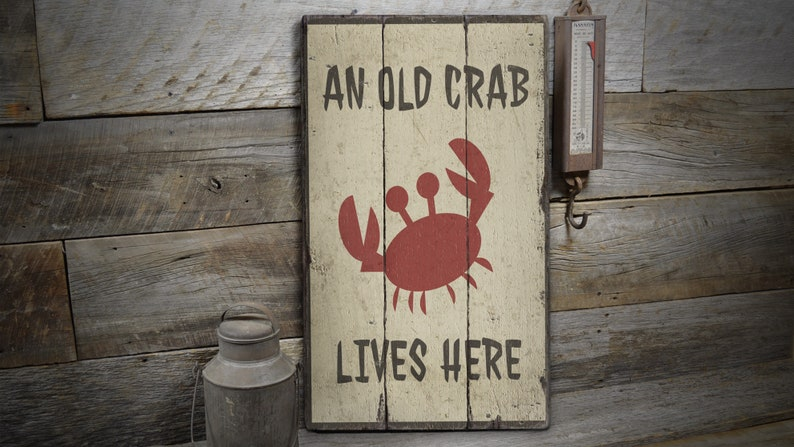 Rustic Hand Made Vintage Wooden Decor Wood Sign Crab Lives Here Sign Wood Ocean Sign Old Crab Sign Wood Ocean Animal Sign