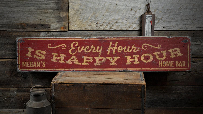 Jede Stunde ist Happy-Hour Holzschild Custom Home Bar Dekor