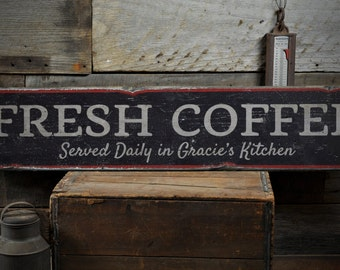 Fresh Coffee Wood Sign, Served Daily In Kitchen Owner Name Sign, Barista Coffe Bar Decor - Rustic Hand Made Vintage Wooden Sign ENS1001450