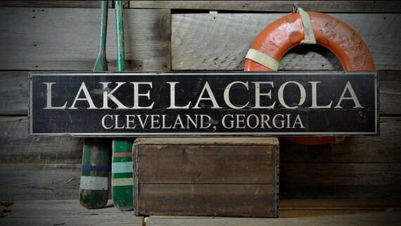 Rustic Hand Made Vintage Wood ENS1000492 Custom Lake Latitude /& Longitude Sign