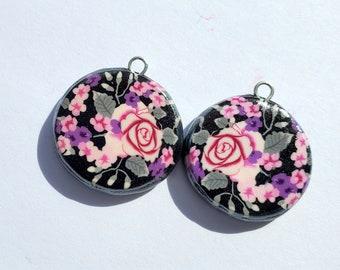 Rose Floral Garden Round Charms Handmade Artisan Polymer Clay Pair