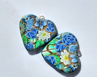 Blue Floral Heart Shaped Charms Handmade Artisan Polymer Clay Pair for Birthday Chistmas Love Hearts
