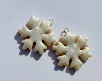 Christmas Snowflake Charm Handmade Artisan Polymer Clay Beads Pair