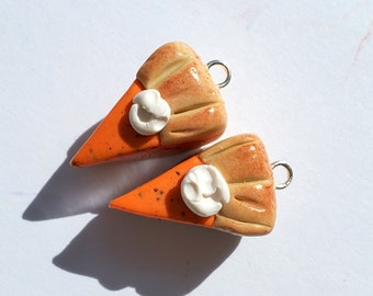 Thanksgiving/Christmas Pumpkin Pie Charms Handmade Artisan Polymer Clay Pair Fall Faux Food
