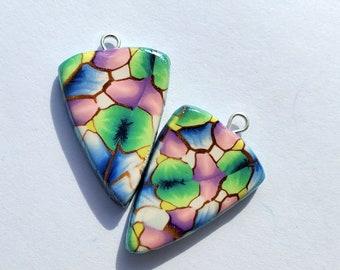 Cells Arrowhead Charm Handmade Artisan Polymer Clay Beads Pair