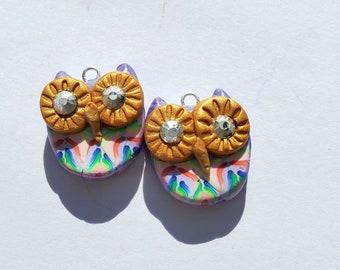 Handmade Owl Polymer Clay Charm Pair Earring Component Charm Dangle Fun